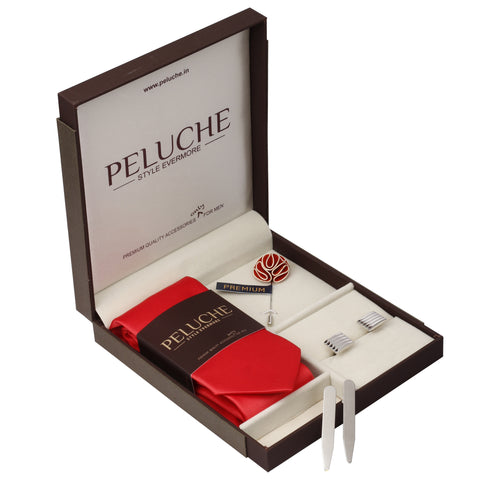 Classy Gift Box Includes 1 Neck Tie, 1 Brooch, 1 Pair of Cufflinks and 1 Pair of Collar Stays for Men | Genuine Branded Product from Peluche.in