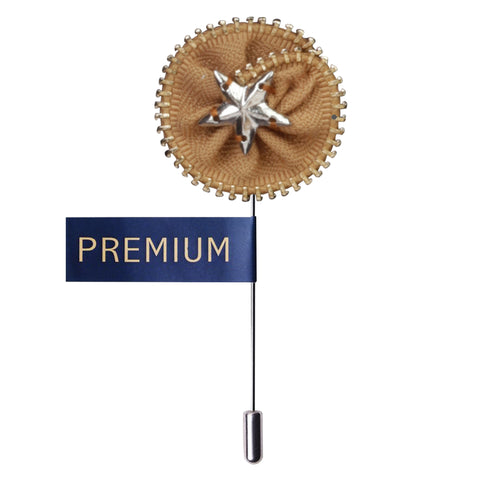 Shining Star Beige & Silver Colored Brooch / Lapel Pin for Men | Genuine Branded Product from Peluche.in