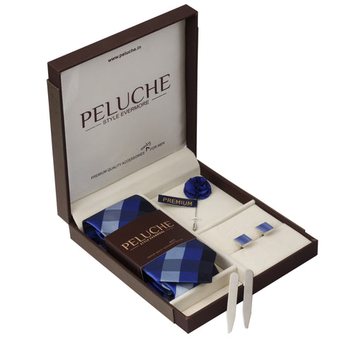 Posh Gift Box Includes 1 Neck Tie, 1 Brooch, 1 Pair of Cufflinks and 1 Pair of Collar Stays for Men | Genuine Branded Product from Peluche.in