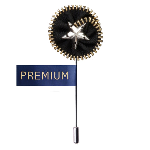 Shining Star Black & Silver & Golden Colored Brooch / Lapel Pin for Men | Genuine Branded Product from Peluche.in