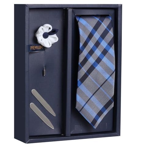 The Brawny Fetcher Gift Box Includes 1 Neck Tie, 1 Brooch & 1 Pair of Collar Stays for Men | Genuine Branded Product from Peluche.in