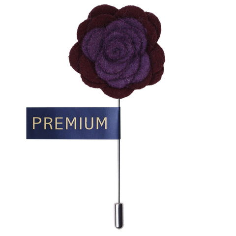 Graceful Bloom Purple & Wine Colored Brooch / Lapel Pin for Men | Genuine Branded Product from Peluche.in
