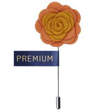 Graceful Bloom Yellow & Peach Colored Brooch / Lapel Pin for Men | Genuine Branded Product from Peluche.in