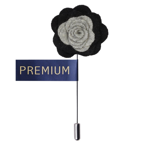 Graceful Bloom Light Grey & Black Colored Brooch / Lapel Pin for Men | Genuine Branded Product from Peluche.in