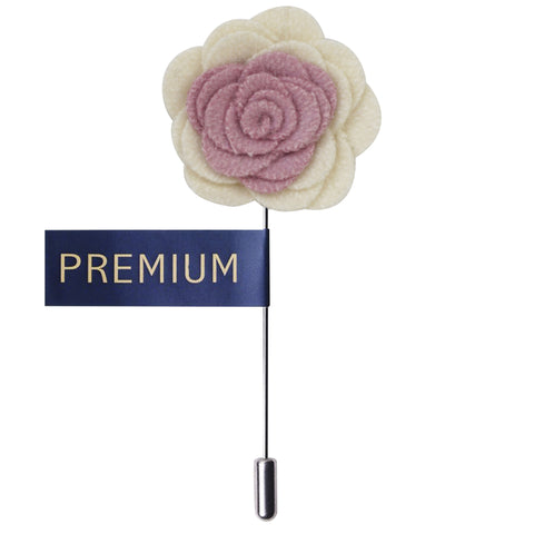 Graceful Bloom Pink & Cream Colored Brooch / Lapel Pin for Men | Genuine Branded Product from Peluche.in