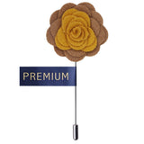 Graceful Bloom Yellow & Light Brown Colored Brooch / Lapel Pin for Men | Genuine Branded Product from Peluche.in