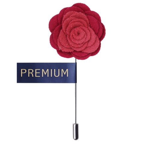 Graceful Bloom Coral & Red Colored Brooch / Lapel Pin for Men | Genuine Branded Product from Peluche.in