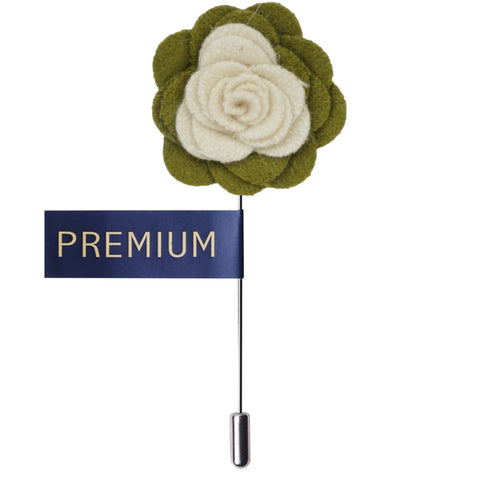 Graceful Bloom Cream & Green Colored Brooch / Lapel Pin for Men | Genuine Branded Product from Peluche.in