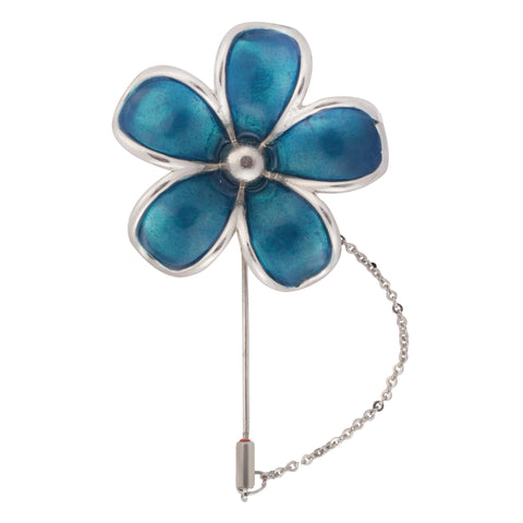 Floral Grace Blue and Silver Colored Brooch / Lapel Pin for Men | Genuine Branded Product from Peluche.in