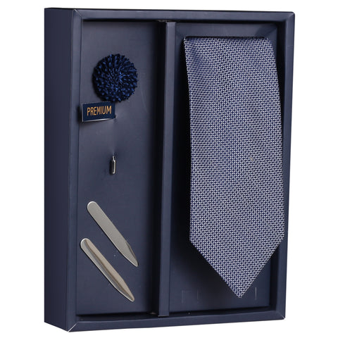The Enamoring Treat Gift Box Includes 1 Neck Tie, 1 Brooch & 1 Pair of Collar Stays for Men | Genuine Branded Product from Peluche.in