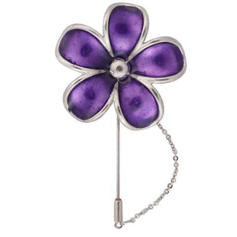 Floral Grace Purple and Silver Colored Brooch / Lapel Pin for Men | Genuine Branded Product from Peluche.in