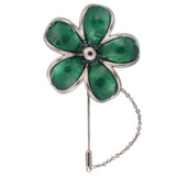 Floral Grace Green and Silver Colored Brooch / Lapel Pin for Men | Genuine Branded Product from Peluche.in