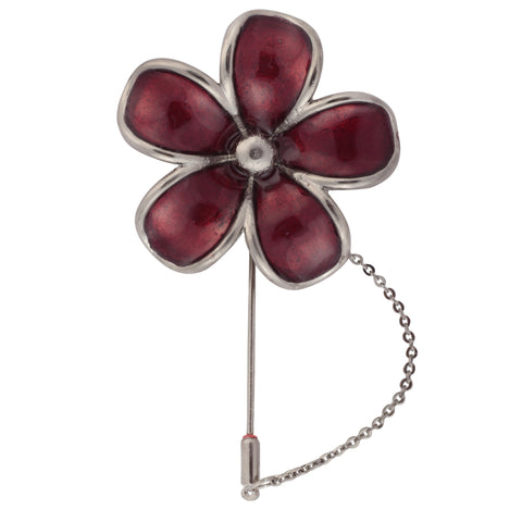 Floral Grace Maroon and Silver Colored Brooch / Lapel Pin for Men | Genuine Branded Product from Peluche.in
