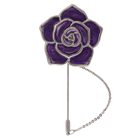 Beautiful Rose Purple and Silver Colored Brooch / Lapel Pin for Men | Genuine Branded Product from Peluche.in