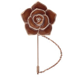Beautiful Rose Brown and Golden Colored Brooch / Lapel Pin for Men | Genuine Branded Product from Peluche.in