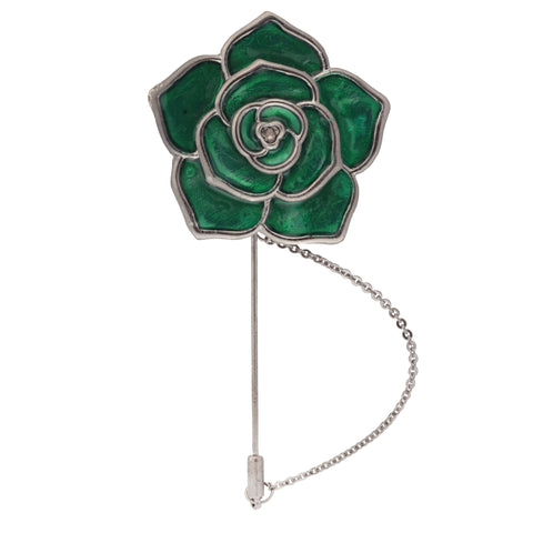 Beautiful Rose Green and Silver Colored Brooch / Lapel Pin for Men | Genuine Branded Product from Peluche.in