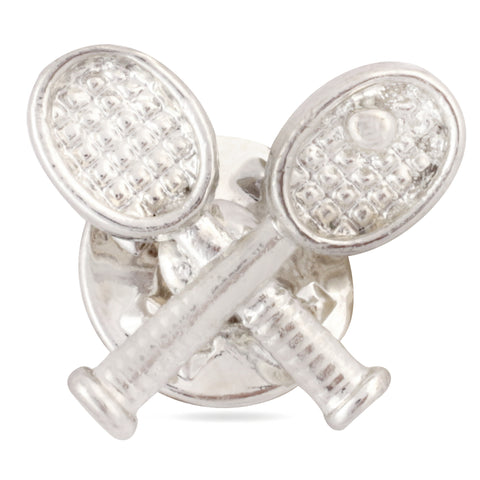 Playful Tennis Silver Colored Lapel Pin for Men