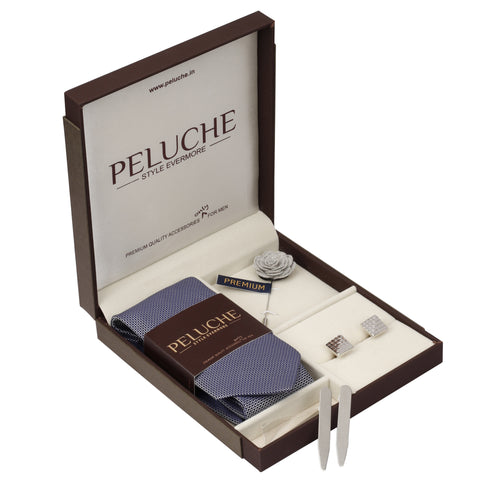 Sharp Gift Box Includes 1 Neck Tie, 1 Brooch, 1 Pair of Cufflinks and 1 Pair of Collar Stays for Men | Genuine Branded Product from Peluche.in