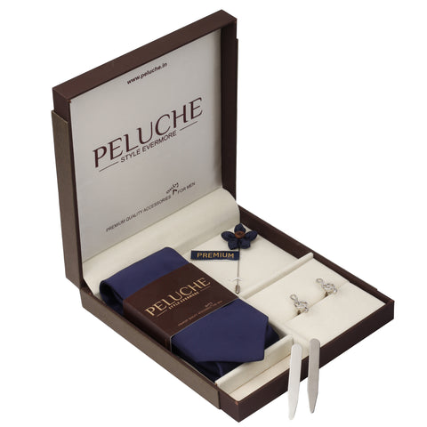 Musical Note Gift Box Includes 1 Neck Tie, 1 Brooch, 1 Pair of Cufflinks and 1 Pair of Collar Stays for Men | Genuine Branded Product from Peluche.in