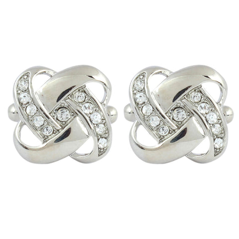 Peluche Classic Knot - Crystal - Cufflinks Brass, Crystal, American Crystal