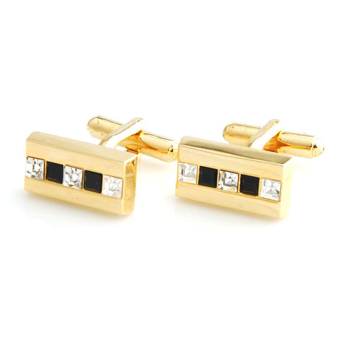 Peluche The Bling Bar - Golden Cufflinks Brass, Crystal, White American Crystal, Black American Crystal