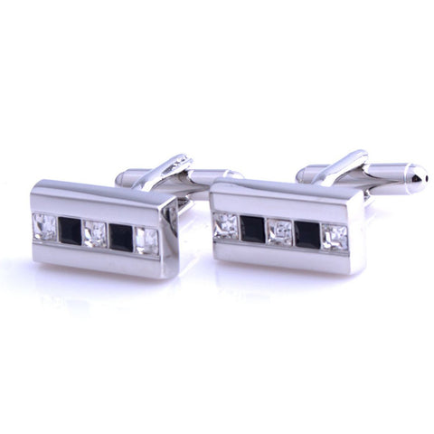 Peluche The Bling Bar - Silver Cufflinks Brass, Crystal, White American Crystal, Black American Crystal