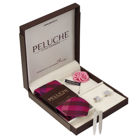 Upscale Gift Box Includes 1 Neck Tie, 1 Brooch, 1 Pair of Cufflinks and 1 Pair of Collar Stays for Men | Genuine Branded Product from Peluche.in