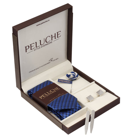 Bewitching Gift Box Includes 1 Neck Tie, 1 Brooch, 1 Pair of Cufflinks and 1 Pair of Collar Stays for Men | Genuine Branded Product from Peluche.in