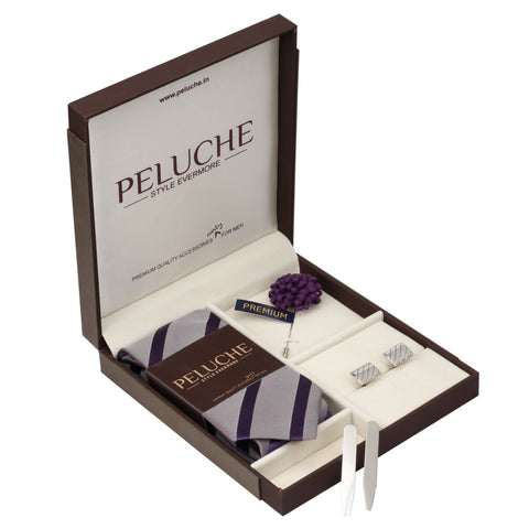 Captivating Gift Box Includes 1 Neck Tie, 1 Brooch, 1 Pair of Cufflinks and 1 Pair of Collar Stays for Men | Genuine Branded Product from Peluche.in