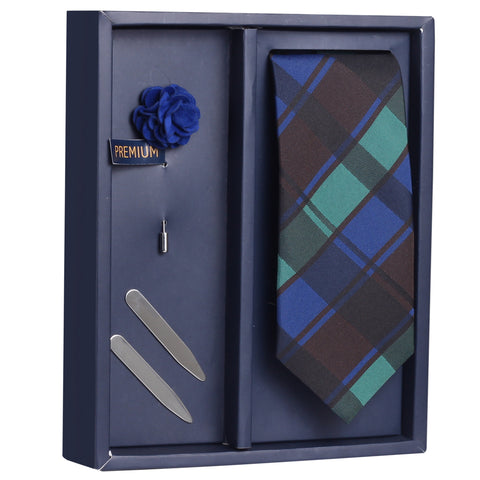 The Sensational Tulip Gift Box Includes 1 Neck Tie, 1 Brooch & 1 Pair of Collar Stays for Men | Genuine Branded Product from Peluche.in