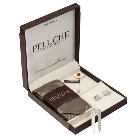 Great Gift Box Includes 1 Neck Tie, 1 Brooch, 1 Pair of Cufflinks and 1 Pair of Collar Stays for Men | Genuine Branded Product from Peluche.in