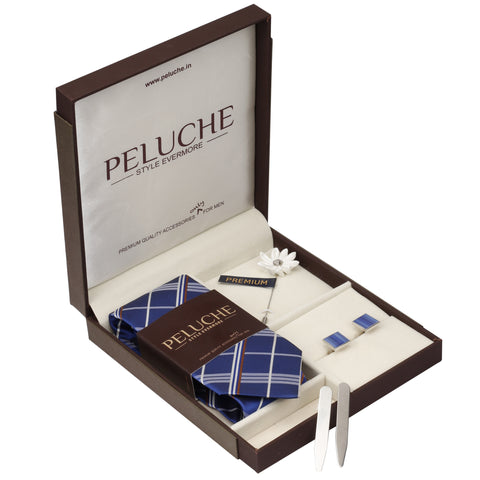 Sublime Gift Box Includes 1 Neck Tie, 1 Brooch, 1 Pair of Cufflinks and 1 Pair of Collar Stays for Men | Genuine Branded Product from Peluche.in