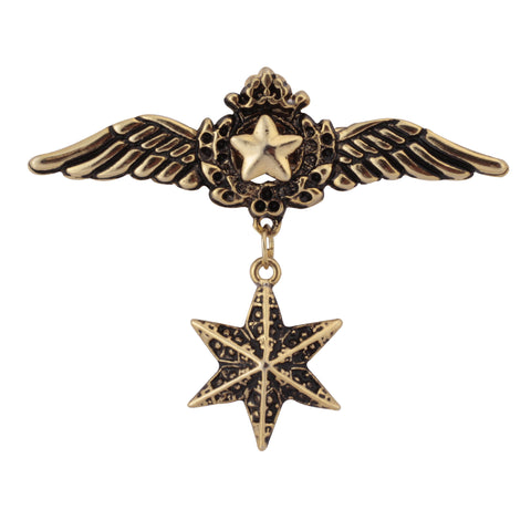Felpa Winged Stars Golden Colored Brooch / Lapel Pin for Men | Genuine Branded Product from Peluche.in