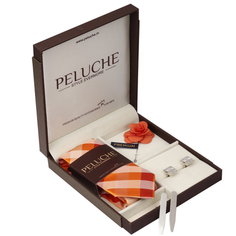 Sensational Gift Box Includes 1 Neck Tie, 1 Brooch, 1 Pair of Cufflinks and 1 Pair of Collar Stays for Men | Genuine Branded Product from Peluche.in