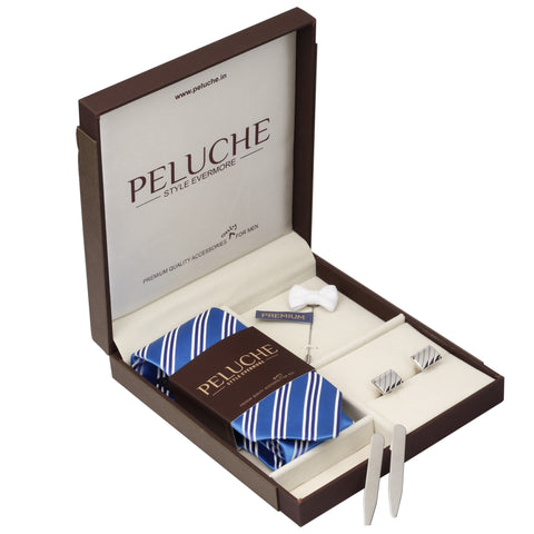 Stunning Gift Box Includes 1 Neck Tie, 1 Brooch, 1 Pair of Cufflinks and 1 Pair of Collar Stays for Men | Genuine Branded Product from Peluche.in