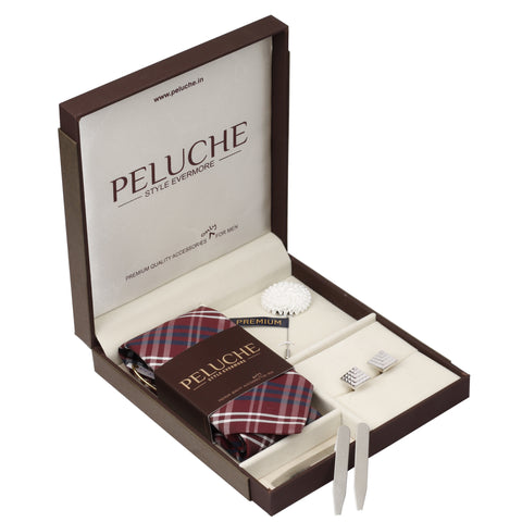 Ensnaring Gift Box Includes 1 Neck Tie, 1 Brooch, 1 Pair of Cufflinks and 1 Pair of Collar Stays for Men | Genuine Branded Product from Peluche.in