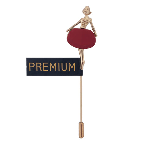 Dancing Ballerina Golden and Maroon Colored Brooch / Lapel Pin for Men | Genuine Branded Product from Peluche.in