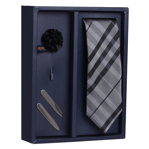 The Criss Cross Combo Gift Box Includes 1 Neck Tie, 1 Brooch & 1 Pair of Collar Stays for Men | Genuine Branded Product from Peluche.in