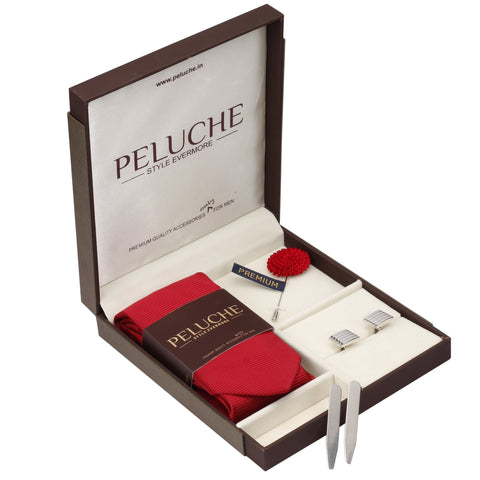 Trim Gift Box Includes 1 Neck Tie, 1 Brooch, 1 Pair of Cufflinks and 1 Pair of Collar Stays for Men | Genuine Branded Product from Peluche.in