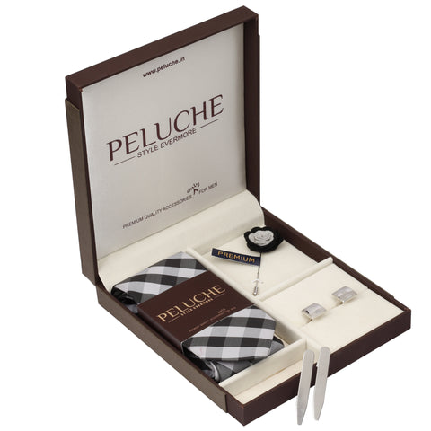 Impressive Gift Box Includes 1 Neck Tie, 1 Brooch, 1 Pair of Cufflinks and 1 Pair of Collar Stays for Men | Genuine Branded Product from Peluche.in