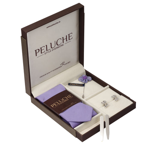 Melodious Music Note Gift Box Includes 1 Neck Tie, 1 Brooch, 1 Pair of Cufflinks and 1 Pair of Collar Stays for Men | Genuine Branded Product from Peluche.in
