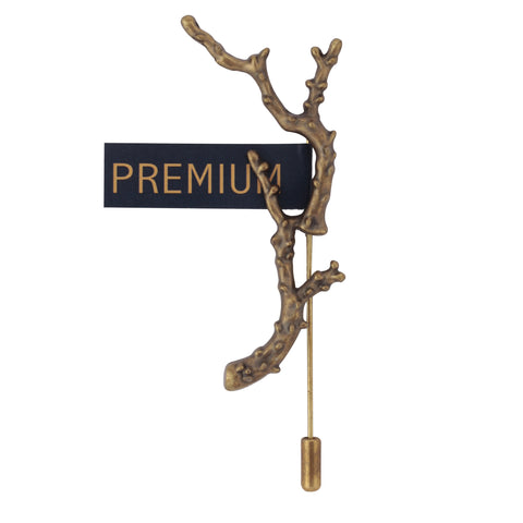 Tree Branch Golden Colored Brooch / Lapel Pin for Men | Genuine Branded Product from Peluche.in