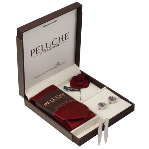 Roulette Wheel Gift Box Includes 1 Neck Tie, 1 Brooch, 1 Pair of Cufflinks and 1 Pair of Collar Stays for Men | Genuine Branded Product from Peluche.in