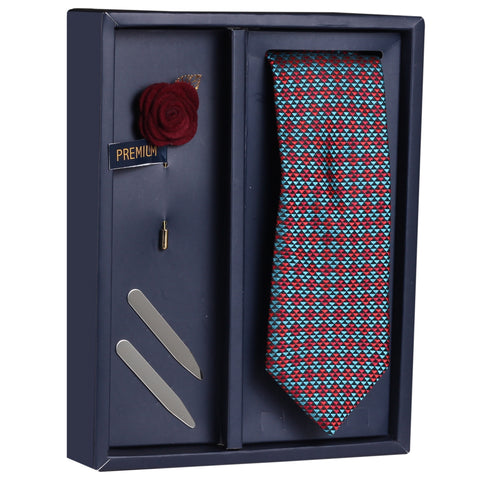 The Titian Shot Gift Box Includes 1 Neck Tie, 1 Brooch & 1 Pair of Collar Stays for Men | Genuine Branded Product from Peluche.in