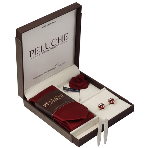 Sassy Open Mouth Gift Box Includes 1 Neck Tie, 1 Brooch, 1 Pair of Cufflinks and 1 Pair of Collar Stays for Men | Genuine Branded Product from Peluche.in