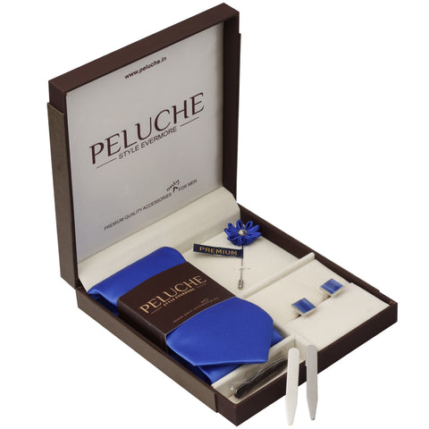 Courtly Gift Box Includes 1 Neck Tie, 1 Brooch, 1 Pair of Cufflinks and 1 Pair of Collar Stays for Men | Genuine Branded Product from Peluche.in