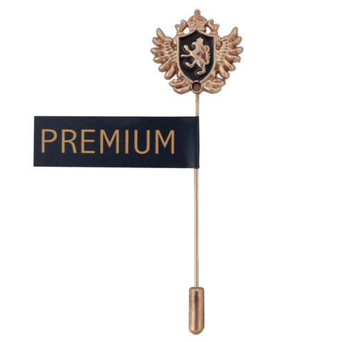 Coat Of Arms Golden and Black Colored Brooch / Lapel Pin for Men | Genuine Branded Product from Peluche.in
