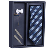 The Azure Stripes Gift Box Includes 1 Neck Tie, 1 Brooch & 1 Pair of Collar Stays for Men | Genuine Branded Product from Peluche.in