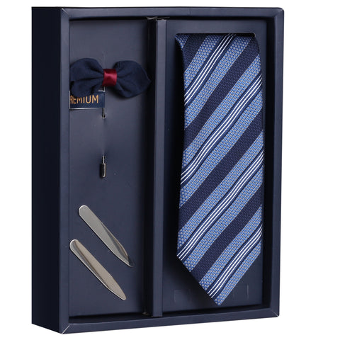 The Cerulian Stripes Gift Box Includes 1 Neck Tie, 1 Brooch & 1 Pair of Collar Stays for Men | Genuine Branded Product from Peluche.in