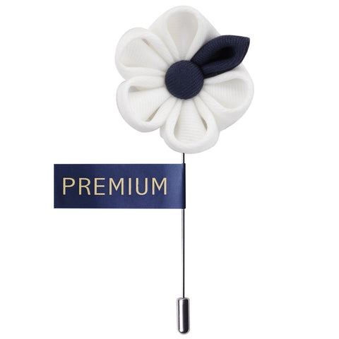 Dual Shaded Beauty White & Navy Blue Colored Brooch / Lapel Pin for Men | Genuine Branded Product from Peluche.in